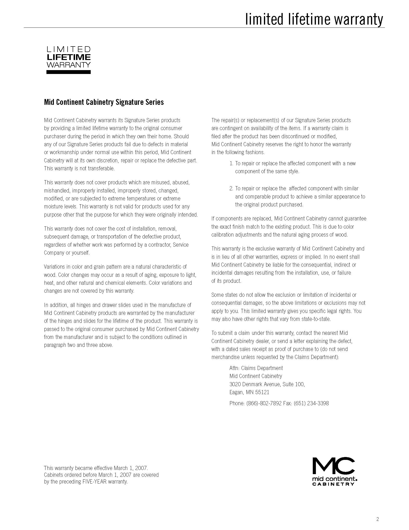 Mid Continent Cabinetry Warranty