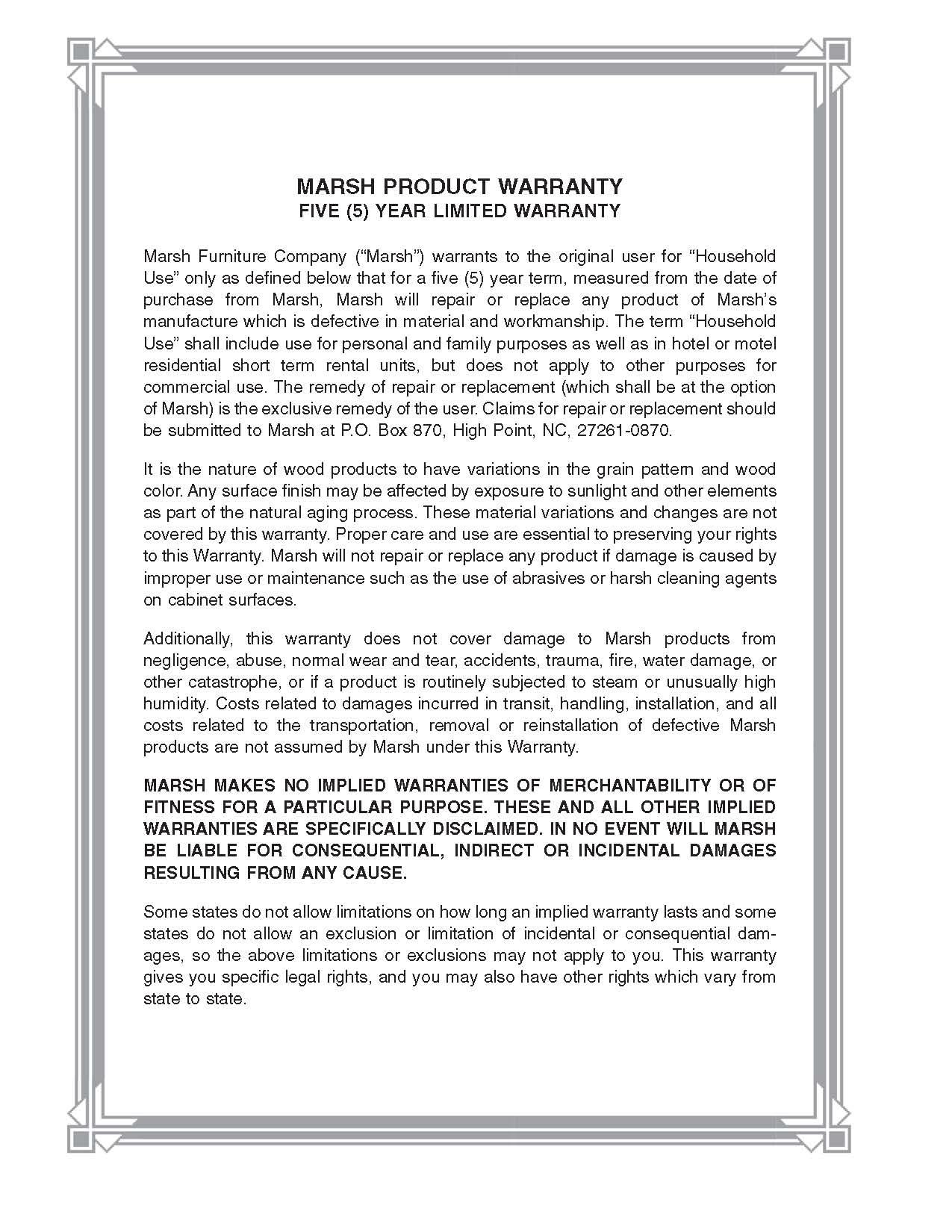 Marsh Cabinet Warranty