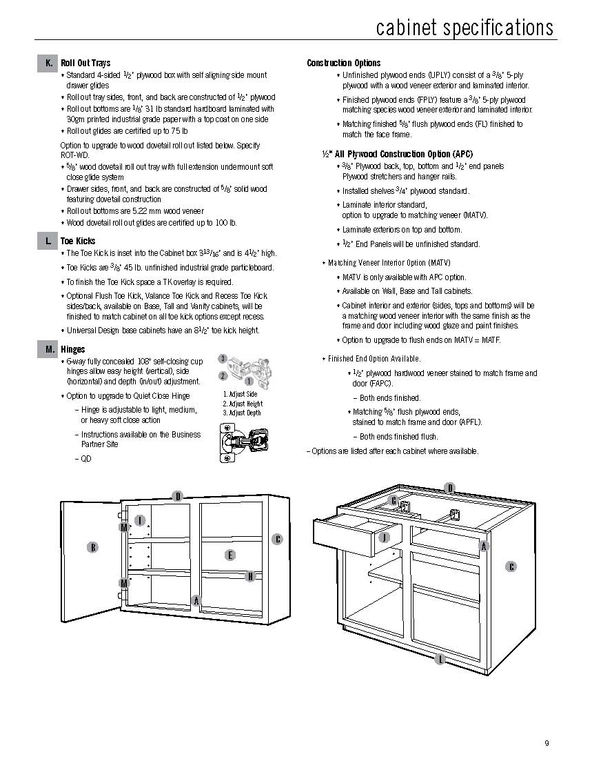 Mid Continent Cabinetry Construction Specs